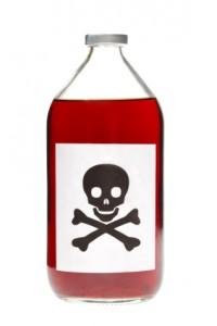 Skull and Cross bones on bottle of beauty ingredients