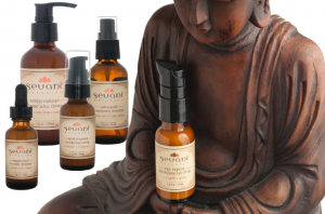 skin care system for sensitive skin in bottles with buddah background