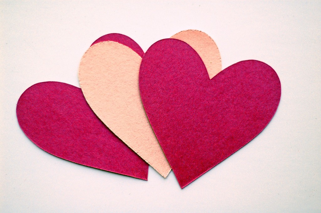 valentines day hearts in maroon and pink
