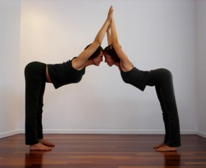 partner yoga pose triple hill