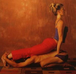 partner yoga pose child cobra